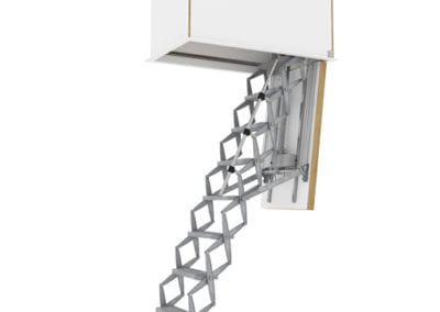 Supreme Fully Automatic Electric Ladder with Flat Roof Access Hatch. Premier Loft ladders