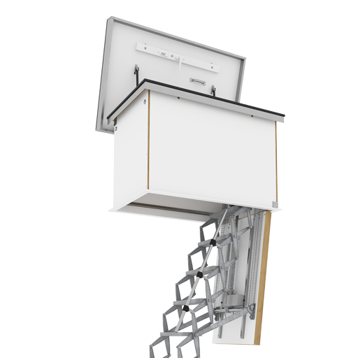 Supreme Electric Ladder with Flat Roof Access Hatch. Fully automatic retractable ladder with insulated and airtight roof access hatch. Premier Loft Ladders
