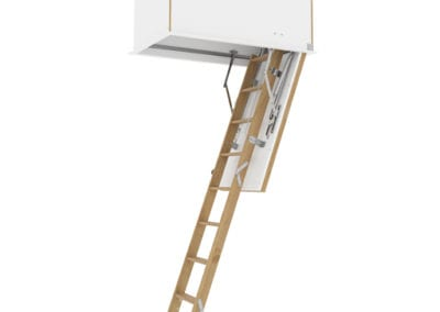 Wooden ladder with insulated flat roof access hatch