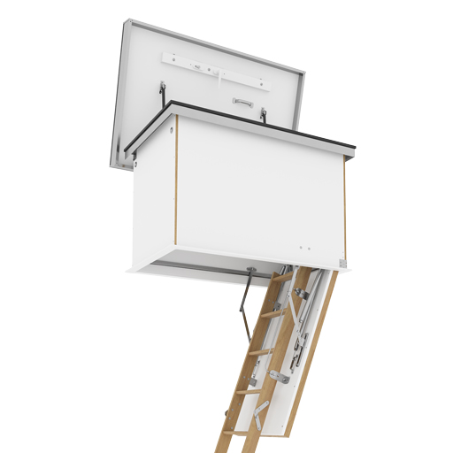 Flat Roof Access Hatch with Wooden Ladder. Insulated and weather-resistant roof access hatch. 3-part folding ladder.