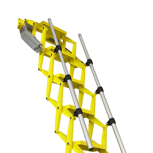 Elite heavy duty commercial grade attic ladder with bold yellow finish - Premier Loft Ladders