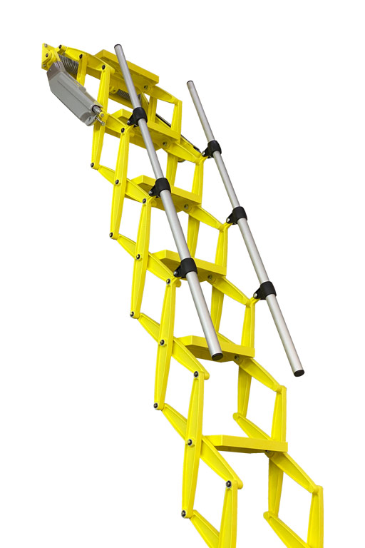 Elite heavy duty concertina loft ladder with yellow power coat finish - Premier Loft Ladders