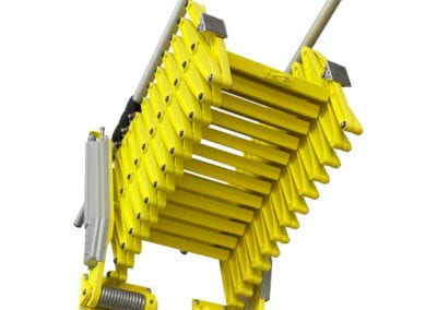 Elite concertina loft ladder in stowed position with bright yellow finish - Premier Loft Ladders