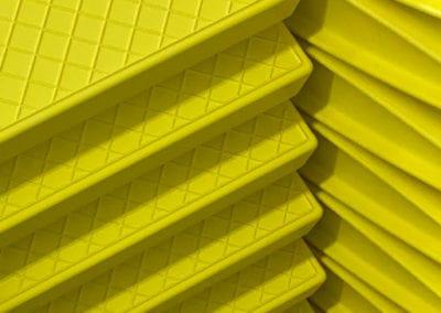 Elite loft ladder treads with bold yellow power coat