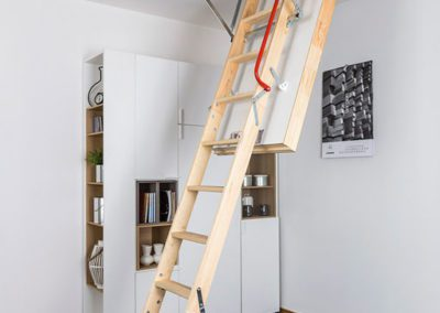 LWT Loft Ladder installed in bedroom. Insulated with airtight seal.